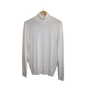 Andrew Marc White Tight Knit Turtleneck Sweater
